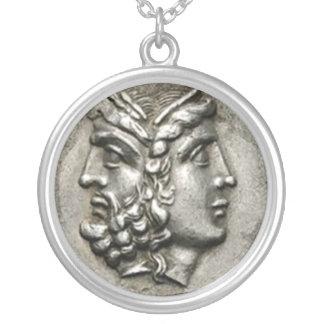 Hera/Zeus Large Silver Round Necklace