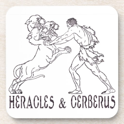 Heracles and Cerberus Drink Coaster