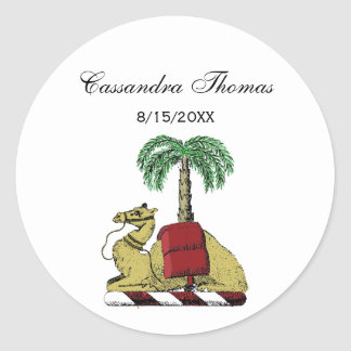 Heraldic Camel Palm Tree Color Coat of Arms Classic Round Sticker