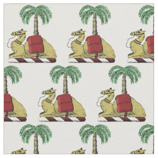 Heraldic Camel Palm Tree Color Coat of Arms Fabric