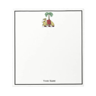 Heraldic Camel Palm Tree Color Coat of Arms Notepad