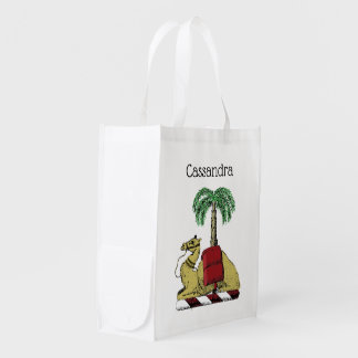 Heraldic Camel Palm Tree Color Coat of Arms Reusable Grocery Bag