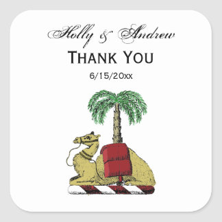Heraldic Camel Palm Tree Color Coat of Arms Square Sticker
