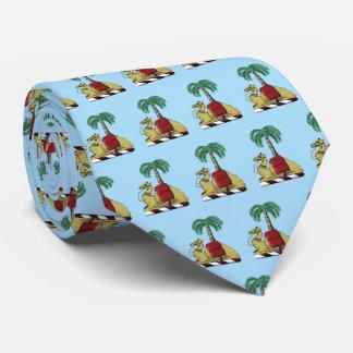 Heraldic Camel Palm Tree Color Coat of Arms Tie