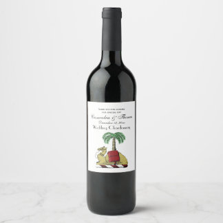 Heraldic Camel Palm Tree Color Coat of Arms Wine Label