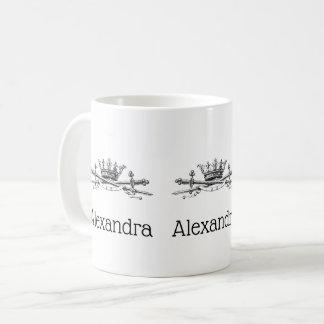 Heraldic Crown Crossed Swords Sabers Emblem Crest Coffee Mug