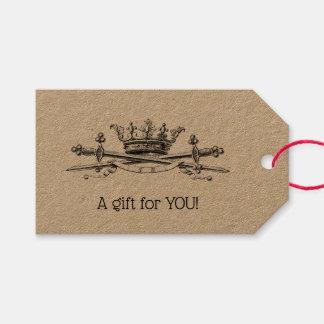 Heraldic Crown Crossed Swords Sabers Emblem Crest Gift Tags