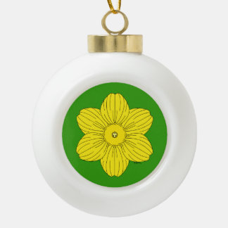Heraldic Daffodil Ceramic Ball Christmas Ornament