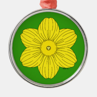 Heraldic Daffodil Metal Ornament