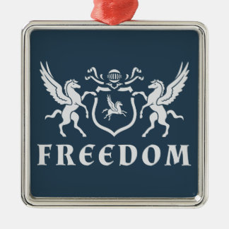 Heraldic Freedom Pegasus Blazon Silver-Colored Square Decoration