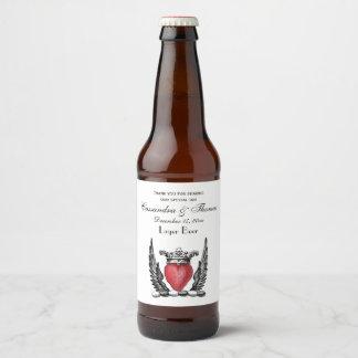 Heraldic Heart with Wings Coat of Arms Crest Beer Bottle Label