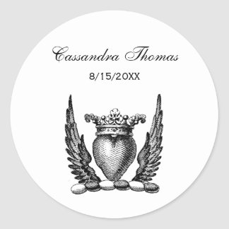 Heraldic Heart with Wings Coat of Arms Crest Classic Round Sticker