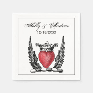 Heraldic Heart with Wings Coat of Arms Crest Disposable Serviettes