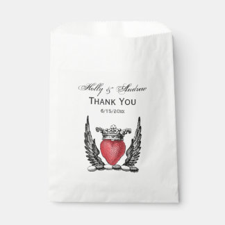 Heraldic Heart with Wings Coat of Arms Crest Favour Bag