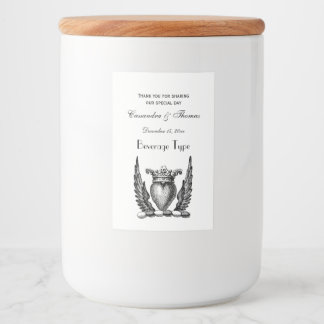 Heraldic Heart with Wings Coat of Arms Crest Food Label