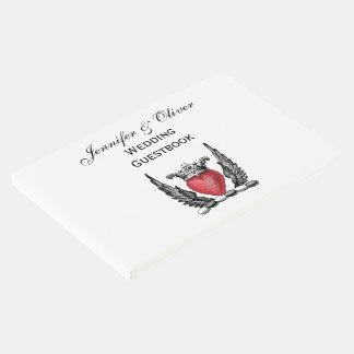 Heraldic Heart with Wings Coat of Arms Crest Guest Book