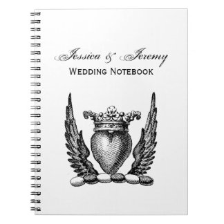 Heraldic Heart with Wings Coat of Arms Crest Notebook