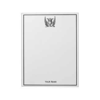 Heraldic Heart with Wings Coat of Arms Crest Notepad