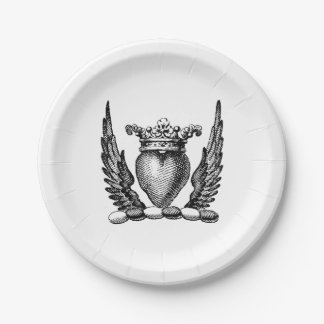 Heraldic Heart with Wings Coat of Arms Crest Paper Plate