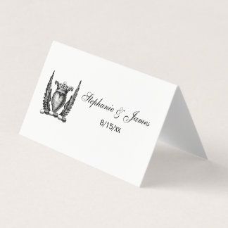 Heraldic Heart with Wings Coat of Arms Crest Place Card