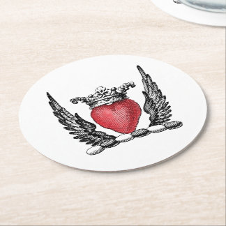 Heraldic Heart with Wings Coat of Arms Crest Round Paper Coaster