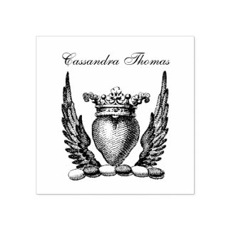 Heraldic Heart with Wings Coat of Arms Crest Rubber Stamp