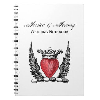 Heraldic Heart with Wings Coat of Arms Crest Spiral Notebook