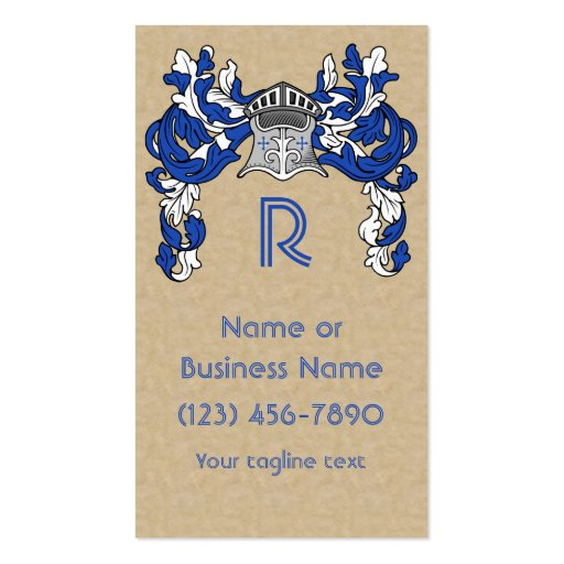 Heraldic Helm and Mantle in Blue Monogram Business Card