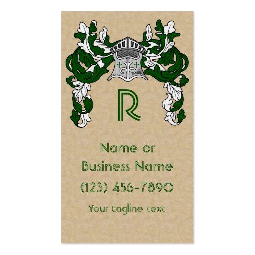 Heraldic Helm and Mantle in Green Monogram Business Card
