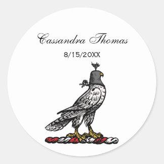 Heraldic Hunting Falcon Wearing Helmet Hood C Classic Round Sticker