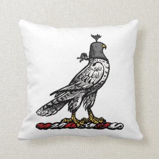 Heraldic Hunting Falcon Wearing Helmet Hood C Cushion