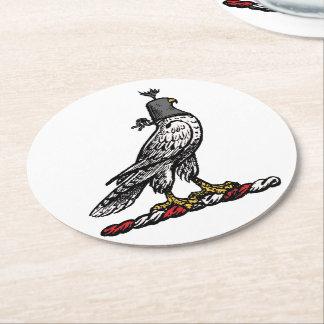 Heraldic Hunting Falcon Wearing Helmet Hood C Round Paper Coaster