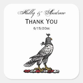 Heraldic Hunting Falcon Wearing Helmet Hood C Square Sticker