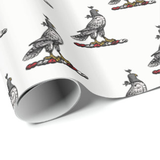 Heraldic Hunting Falcon Wearing Helmet Hood C Wrapping Paper