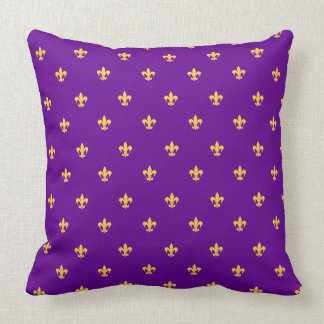 Heraldic Lilly on Purple Background Cushion