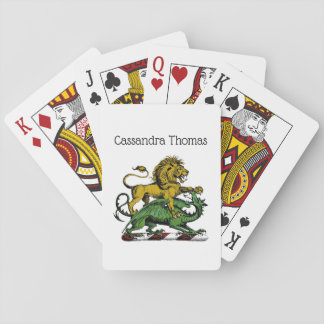 Heraldic Lion and Dragon Crest Emblem Playing Cards