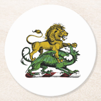 Heraldic Lion and Dragon Crest Emblem Round Paper Coaster