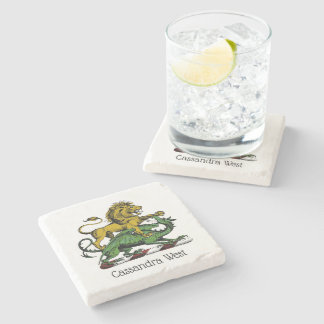 Heraldic Lion and Dragon Crest Emblem Stone Coaster