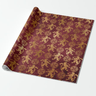 Heraldic Lion Royal Golden Red Velvet Wrapping Paper