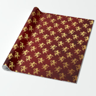 Heraldic Lion Royal Golden Red Velvet Wrapping Paper