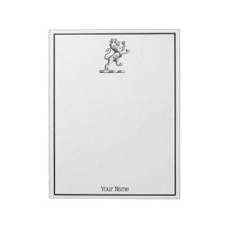 Heraldic Lion Standing Crest Emblem Notepad