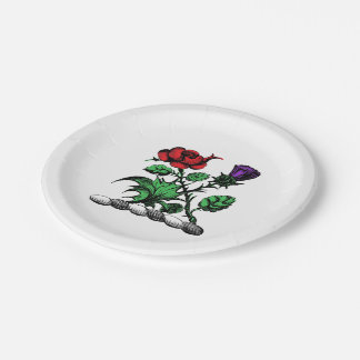 Heraldic Rose & Thistle Coat of Arms Crest Color 7 Inch Paper Plate