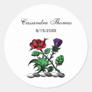 Heraldic Rose & Thistle Coat of Arms Crest Color Classic Round Sticker