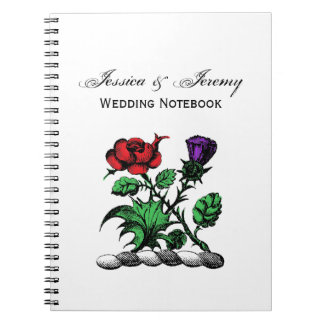 Heraldic Rose & Thistle Coat of Arms Crest Color Notebooks