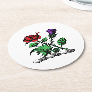 Heraldic Rose & Thistle Coat of Arms Crest Color Round Paper Coaster