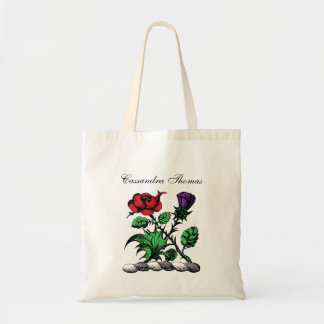 Heraldic Rose & Thistle Coat of Arms Crest Color Tote Bag