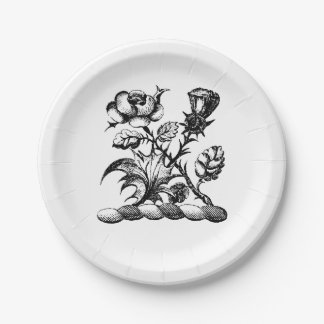 Heraldic Rose & Thistle Coat of Arms Crest Emblem 7 Inch Paper Plate
