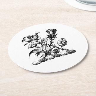 Heraldic Rose & Thistle Coat of Arms Crest Emblem Round Paper Coaster