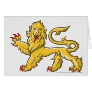 Heraldic symbol of lion statant guardant greeting card
