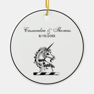 Heraldic Unicorn Head Coat of Arms Emblem Ceramic Ornament